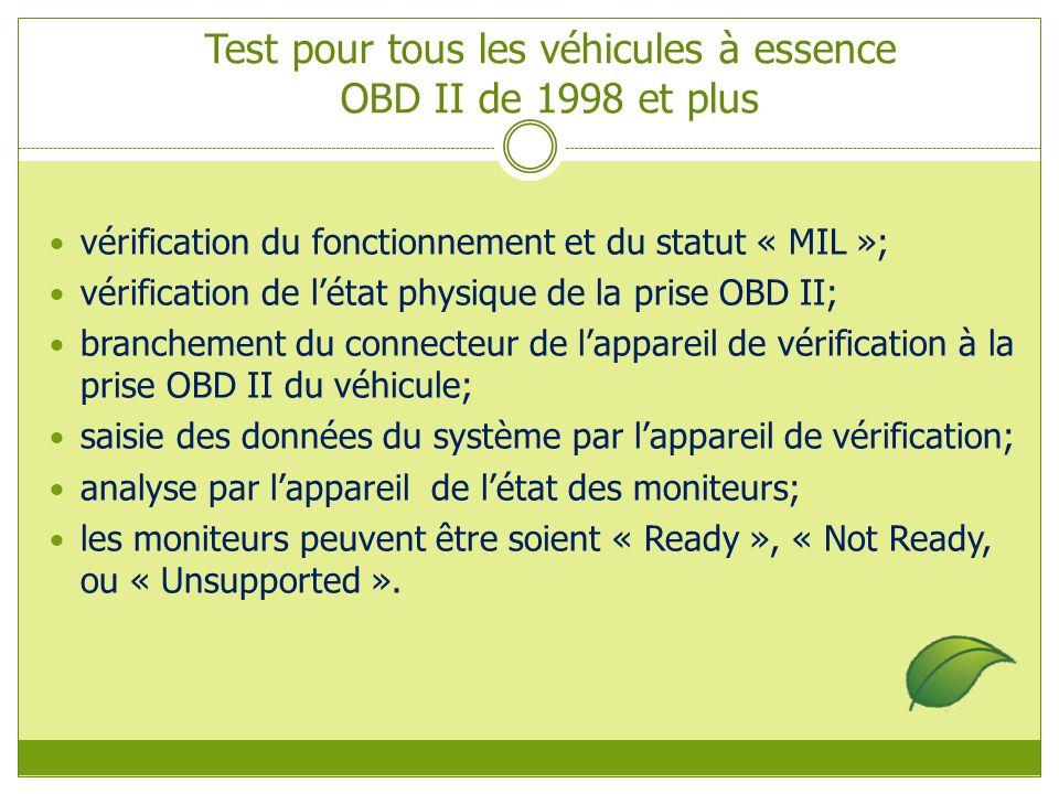 Test pour tous les véhicules à essence OBD II de 1998 et plus vérification du fonctionnement et du statut « MIL »; vérification de létat physique de la prise OBD II; branchement du connecteur de lappareil de vérification à la prise OBD II du véhicule; saisie des données du système par lappareil de vérification; analyse par lappareil de létat des moniteurs; les moniteurs peuvent être soient « Ready », « Not Ready, ou « Unsupported ».