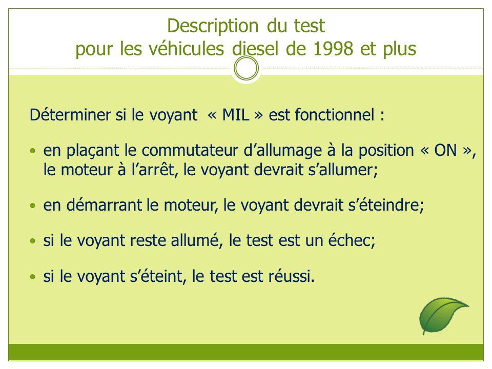 Description du test pour les véhicules diesel de 1998 et plus Déterminer si le voyant « MIL » est fonctionnel : en plaçant le commutateur dallumage à la position « ON », le moteur à larrêt, le voyant devrait sallumer; en démarrant le moteur, le voyant devrait séteindre; si le voyant reste allumé, le test est un échec; si le voyant séteint, le test est réussi.