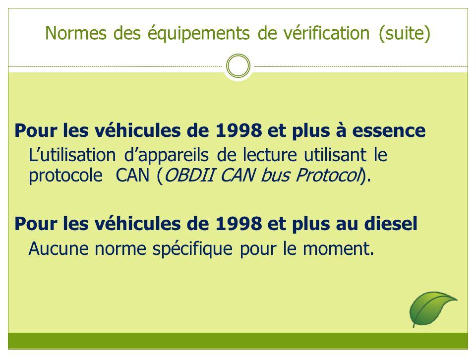 Normes des équipements de vérification (suite) Pour les véhicules de 1998 et plus à essence Lutilisation dappareils de lecture utilisant le protocole CAN (OBDII CAN bus Protocol).