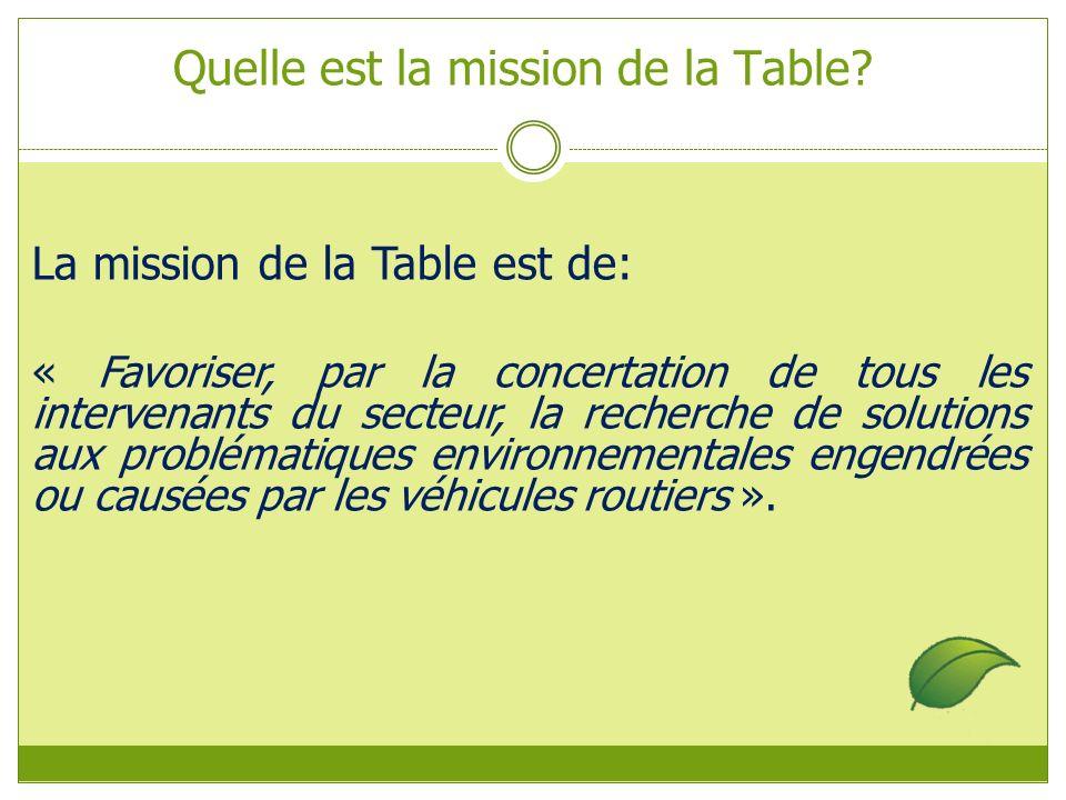 La mission de la Table est de: « Favoriser, par la concertation de tous les intervenants du secteur, la recherche de solutions aux problématiques environnementales engendrées ou causées par les véhicules routiers ».