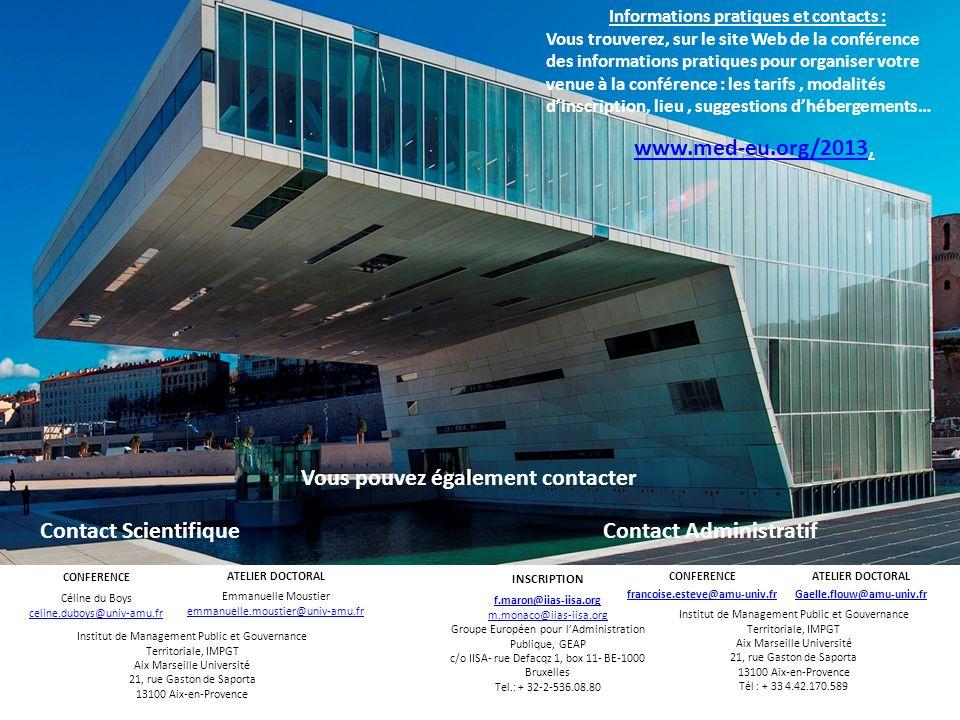Informations pratiques et contacts : Vous trouverez, sur le site Web de la conférence des informations pratiques pour organiser votre venue à la confé