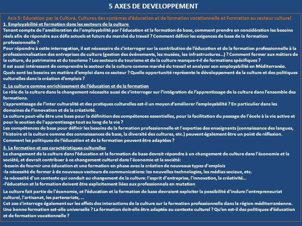 5 AXES DE DEVELOPPEMENT Axis 5: Education par la Culture, Cultures des systèmes déducation et de formation vocationnelle et Formation au secteur cultu