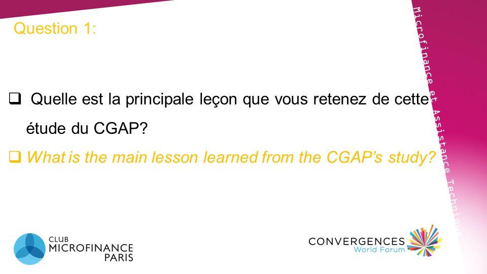 Question 1: Microfinance et Assistance Technique Quelle est la principale leçon que vous retenez de cette étude du CGAP? What is the main lesson learn