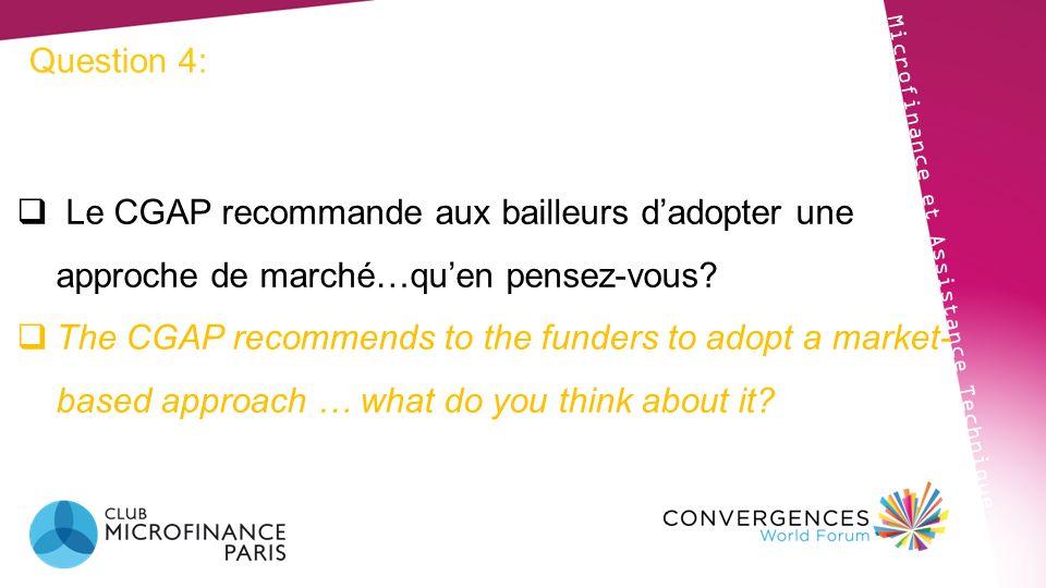 Question 4: Microfinance et Assistance Technique Le CGAP recommande aux bailleurs dadopter une approche de marché…quen pensez-vous? The CGAP recommend