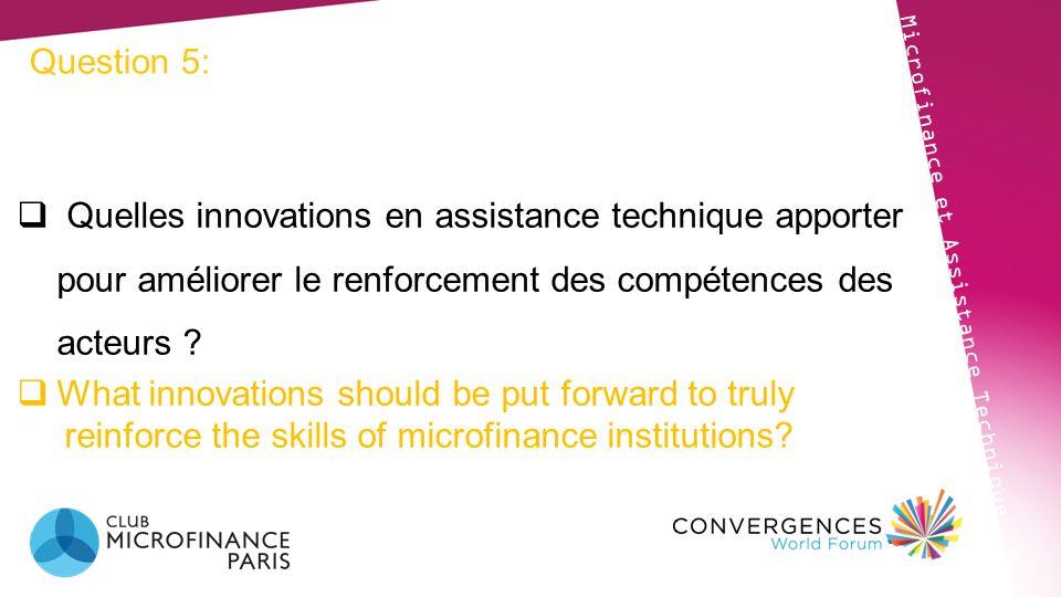 Question 5: Microfinance et Assistance Technique Quelles innovations en assistance technique apporter pour améliorer le renforcement des compétences d