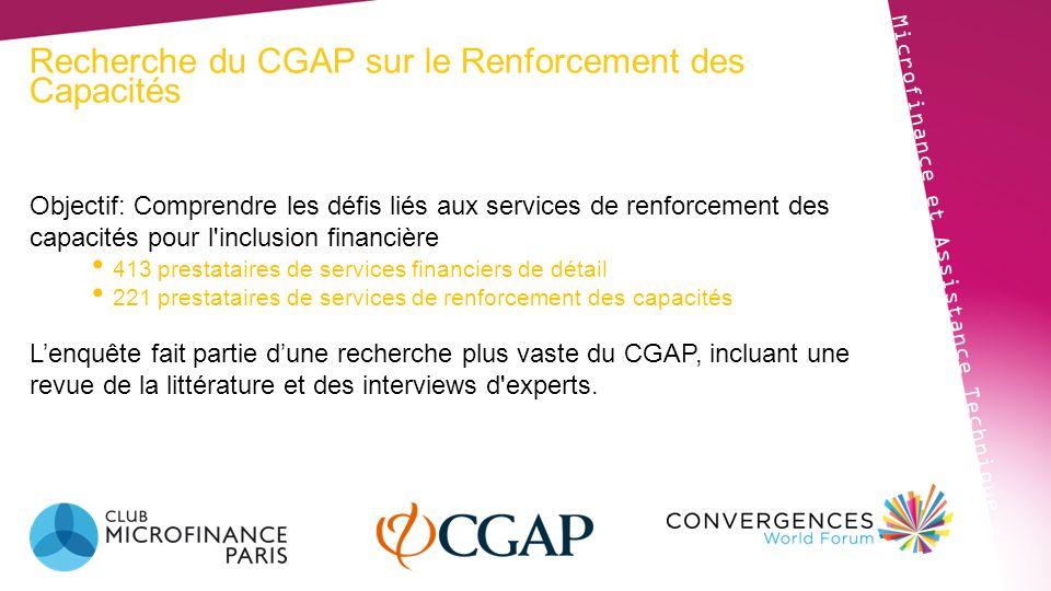 Recherche du CGAP sur le Renforcement des Capacités Microfinance et Assistance Technique Objectif: Comprendre les défis liés aux services de renforcem