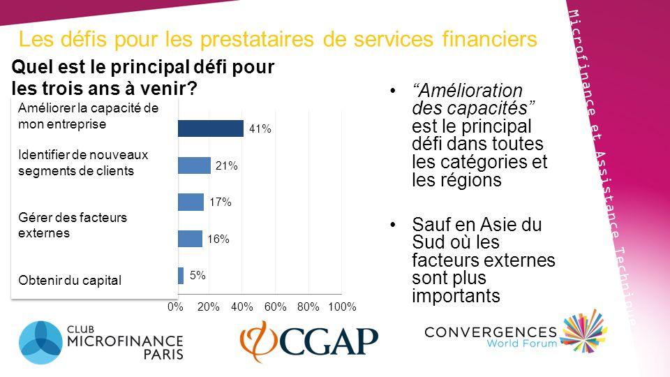 Les défis pour les prestataires de services financiers Microfinance et Assistance Technique Amélioration des capacités est le principal défi dans tout