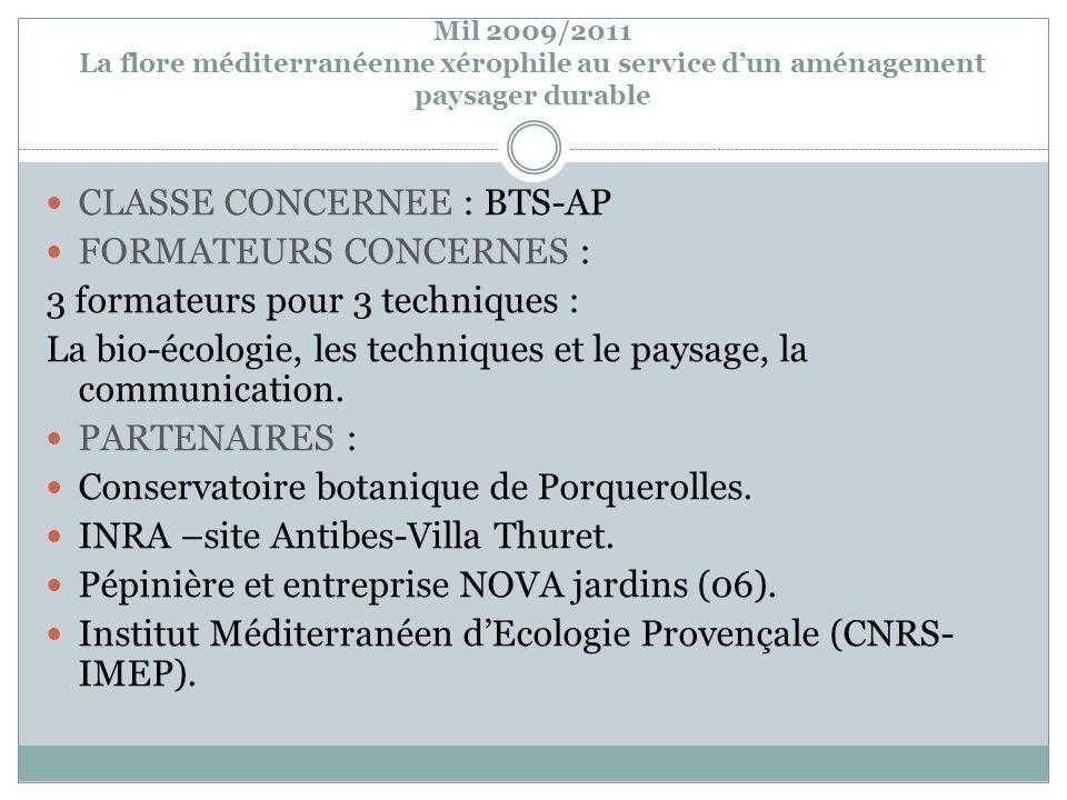 Mil 2009/2011 La flore méditerranéenne xérophile au service dun aménagement paysager durable CLASSE CONCERNEE : BTS-AP FORMATEURS CONCERNES : 3 format