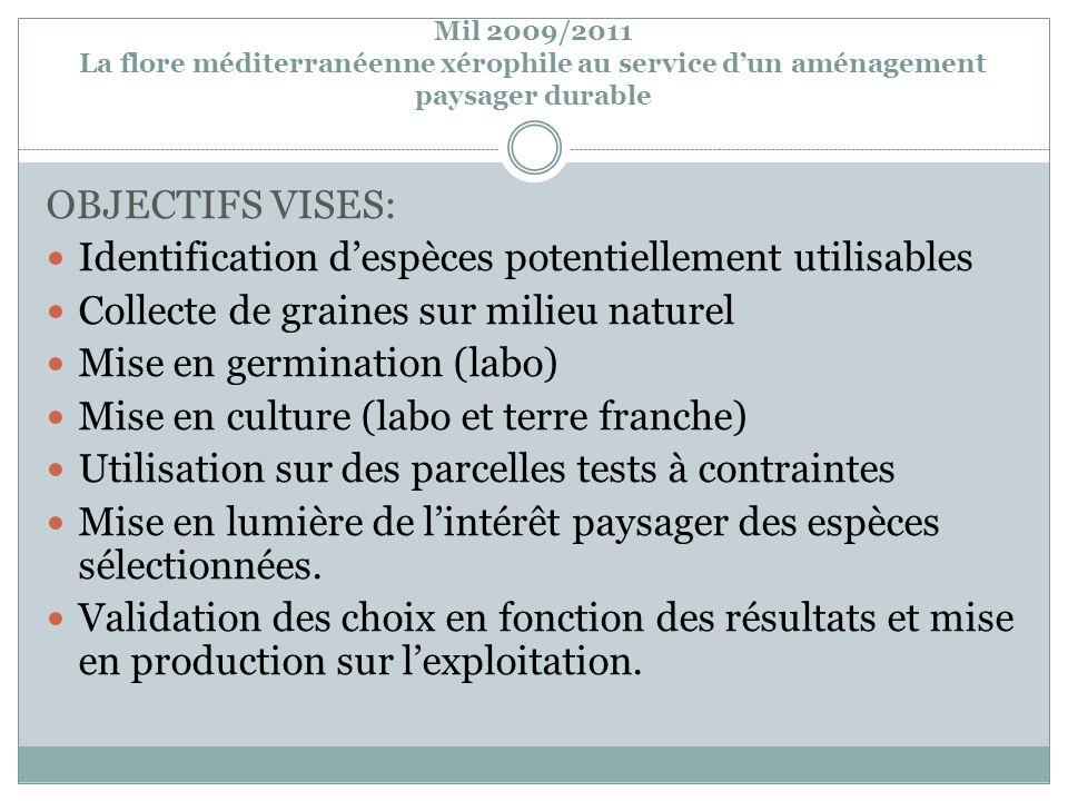 Mil 2009/2011 La flore méditerranéenne xérophile au service dun aménagement paysager durable OBJECTIFS VISES: Identification despèces potentiellement