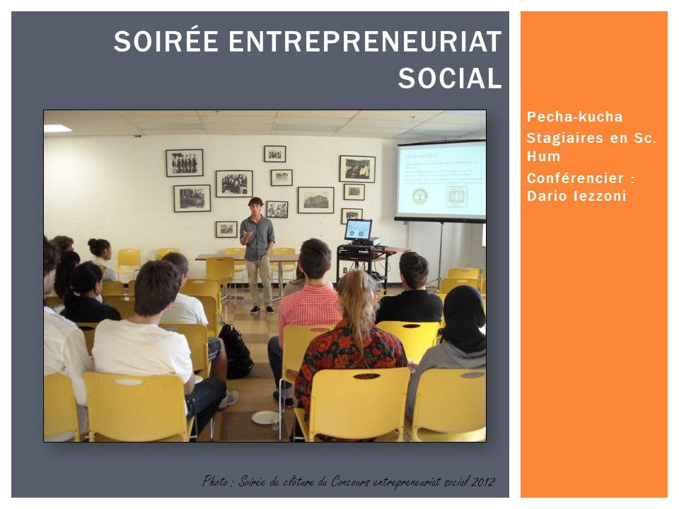 Photo : Soirée de clôture du Concours entrepreneuriat social 2012 SOIRÉE ENTREPRENEURIAT SOCIAL Pecha-kucha Stagiaires en Sc.