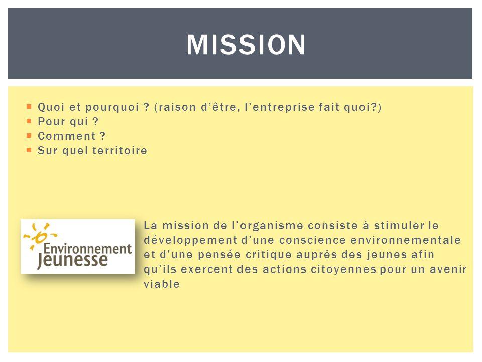 MISSION Quoi et pourquoi . (raison dêtre, lentreprise fait quoi ) Quoi et pourquoi .