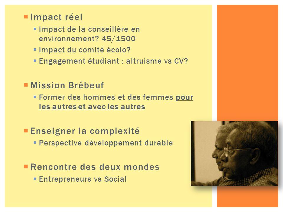 Impact réel Impact de la conseillère en environnement.