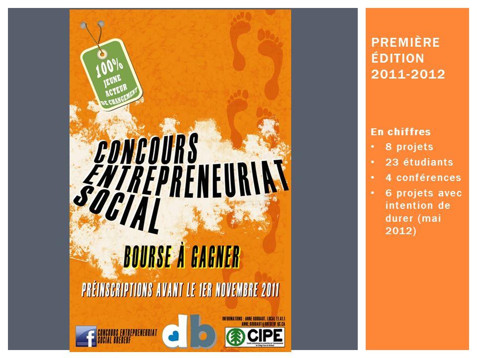 En chiffres 8 projets 23 étudiants 4 conférences 6 projets avec intention de durer (mai 2012) PREMIÈRE ÉDITION 2011-2012