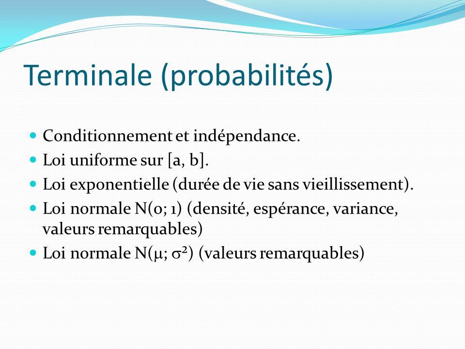 Terminale (probabilités) Conditionnement et indépendance. Loi uniforme sur [a, b]. Loi exponentielle (durée de vie sans vieillissement). Loi normale N