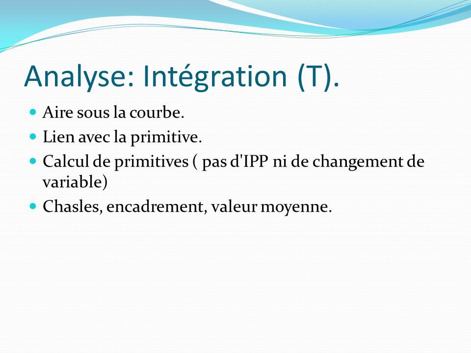 Analyse: Intégration (T). Aire sous la courbe. Lien avec la primitive. Calcul de primitives ( pas d'IPP ni de changement de variable) Chasles, encadre