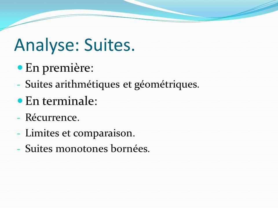 Analyse: Suites. En première: - Suites arithmétiques et géométriques. En terminale: - Récurrence. - Limites et comparaison. - Suites monotones bornées