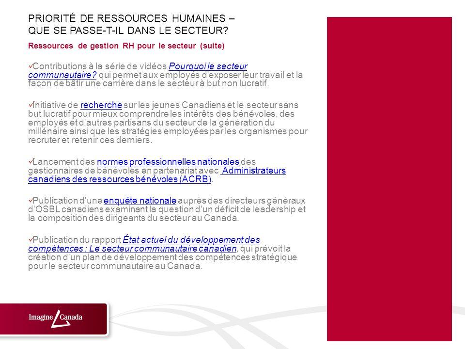 Ressources de gestion RH pour le secteur (suite) Contributions à la série de vidéos Pourquoi le secteur communautaire? qui permet aux employés d'expos