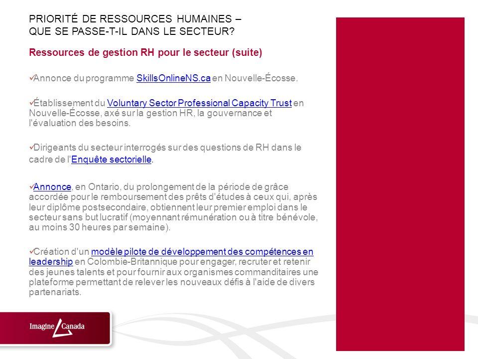 Ressources de gestion RH pour le secteur (suite) Annonce du programme SkillsOnlineNS.ca en Nouvelle-Écosse.SkillsOnlineNS.ca Établissement du Voluntar