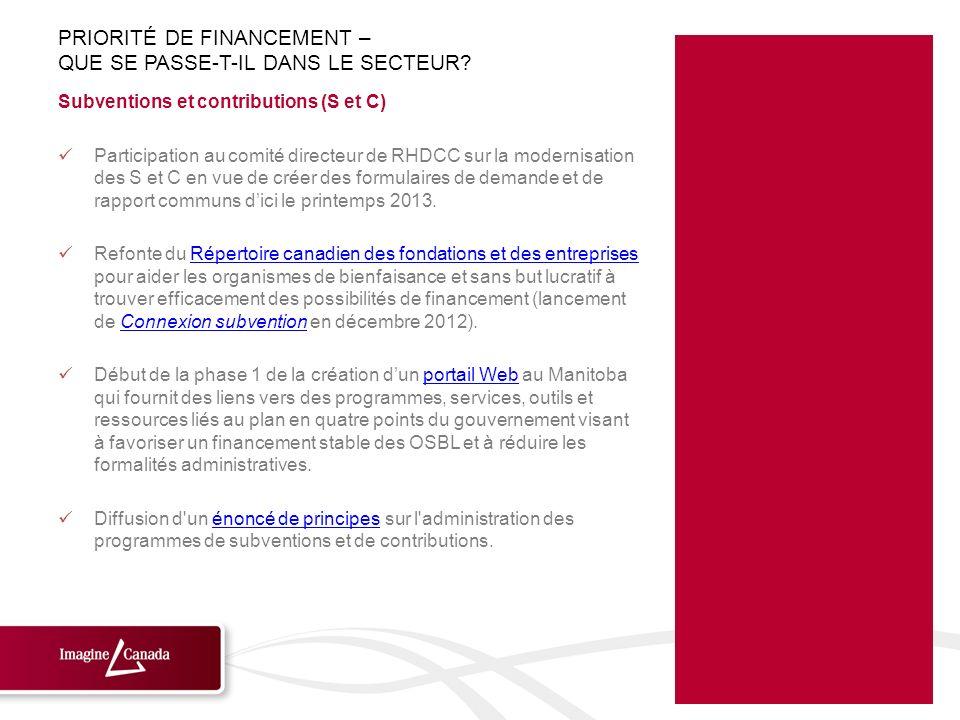 Subventions et contributions (S et C) Participation au comité directeur de RHDCC sur la modernisation des S et C en vue de créer des formulaires de de