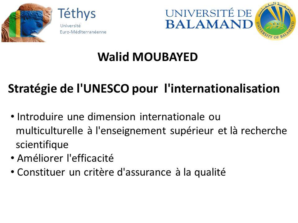 Téthys Université Euro-Méditerranéenne Walid MOUBAYED Stratégie de l UNESCO pour l internationalisation Introduire une dimension internationale ou multiculturelle à l enseignement supérieur et là recherche scientifique Améliorer l efficacité Constituer un critère d assurance à la qualité
