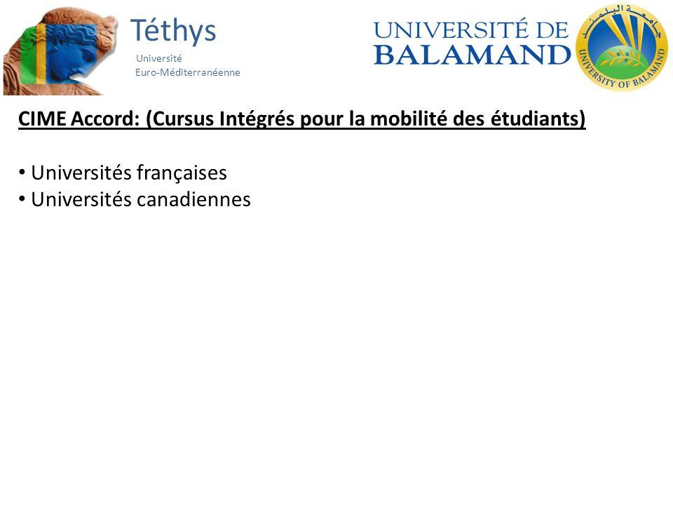 Téthys Université Euro-Méditerranéenne CIME Accord: (Cursus Intégrés pour la mobilité des étudiants) Universités françaises Universités canadiennes