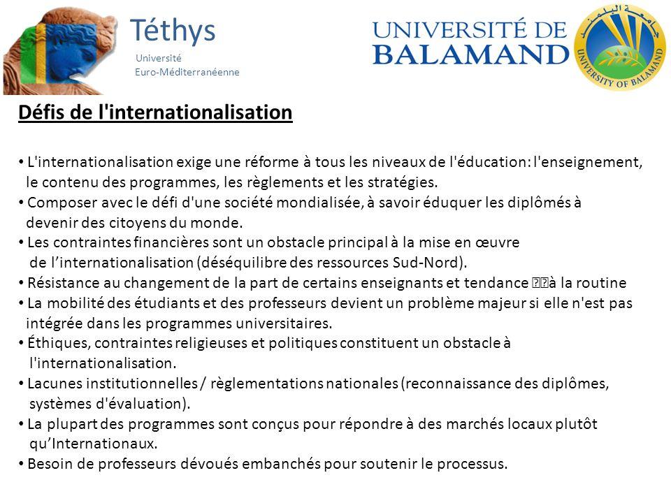 Téthys Université Euro-Méditerranéenne Défis de l internationalisation L internationalisation exige une réforme à tous les niveaux de l éducation: l enseignement, le contenu des programmes, les règlements et les stratégies.
