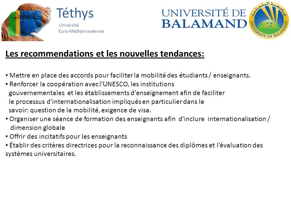 Téthys Université Euro-Méditerranéenne Les recommendations et les nouvelles tendances: Mettre en place des accords pour faciliter la mobilité des étudiants / enseignants.