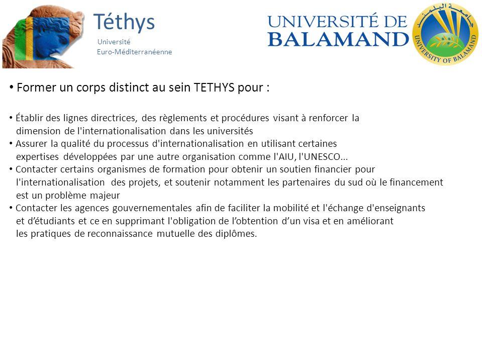 Téthys Université Euro-Méditerranéenne Former un corps distinct au sein TETHYS pour : Établir des lignes directrices, des règlements et procédures vis