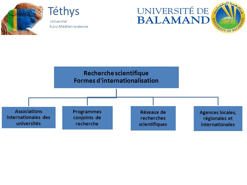 Téthys Université Euro-Méditerranéenne Recherche scientifique Formes d'internationalisation Associations internationales des universités Programmes co
