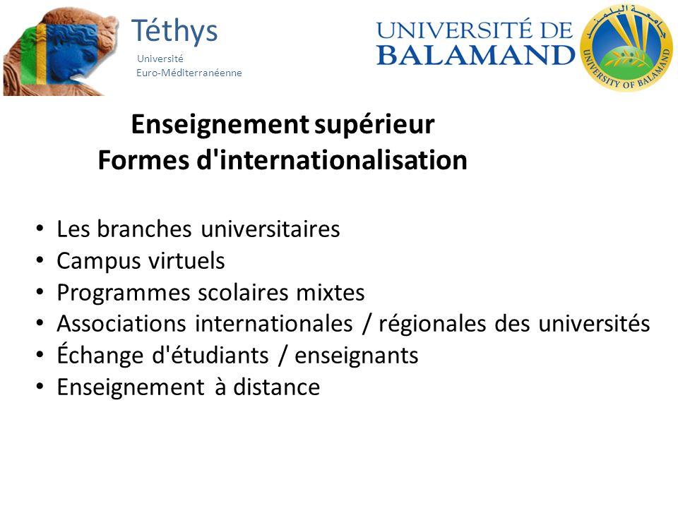 Téthys Université Euro-Méditerranéenne Enseignement supérieur Formes d internationalisation Les branches universitaires Campus virtuels Programmes scolaires mixtes Associations internationales / régionales des universités Échange d étudiants / enseignants Enseignement à distance