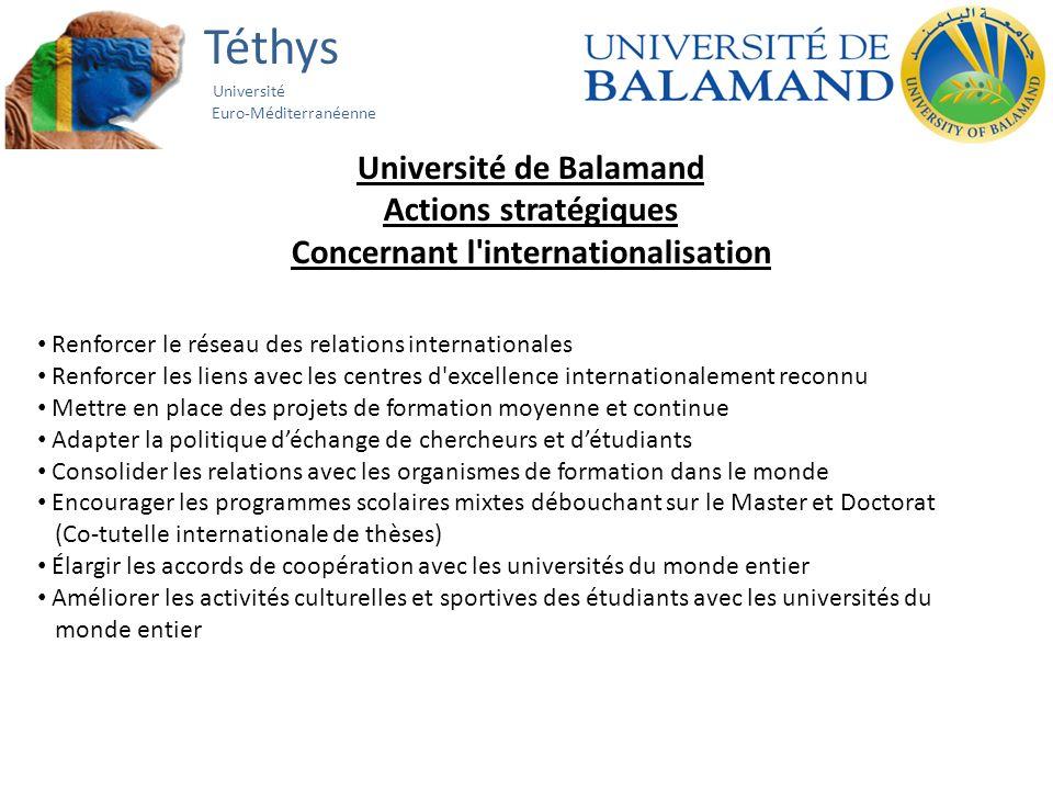 Téthys Université Euro-Méditerranéenne Université de Balamand Actions stratégiques Concernant l'internationalisation Renforcer le réseau des relations