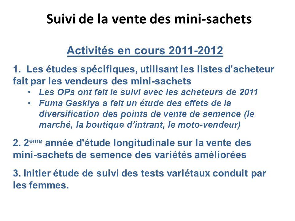 Suivi de la vente des mini-sachets Activités en cours 2011-2012 1. Les études spécifiques, utilisant les listes dacheteur fait par les vendeurs des mi