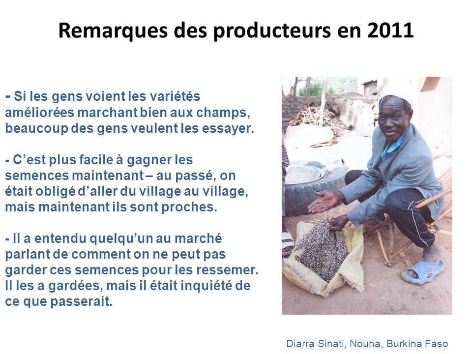 Remarques des producteurs en 2011 - Si les gens voient les variétés améliorées marchant bien aux champs, beaucoup des gens veulent les essayer. - Cest