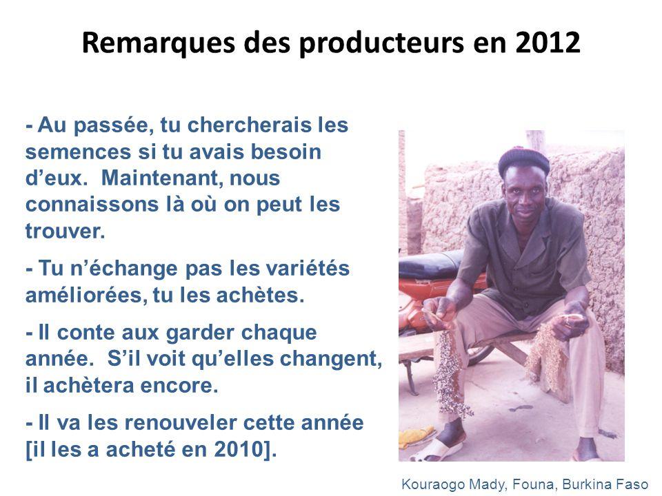 Remarques des producteurs en 2012 - Au passée, tu chercherais les semences si tu avais besoin deux. Maintenant, nous connaissons là où on peut les tro