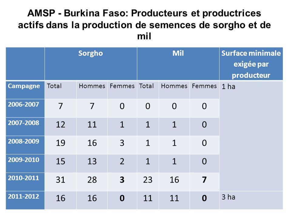 AMSP - Burkina Faso: Producteurs et productrices actifs dans la production de semences de sorgho et de mil SorghoMil Surface minimale exigée par producteur CampagneTotalHommesFemmesTotalHommesFemmes 1 ha 2006-2007 770000 2007-2008 12111110 2008-2009 19163110 2009-2010 15132110 2010-2011 3128323167 2011-2012 16 011 0 3 ha