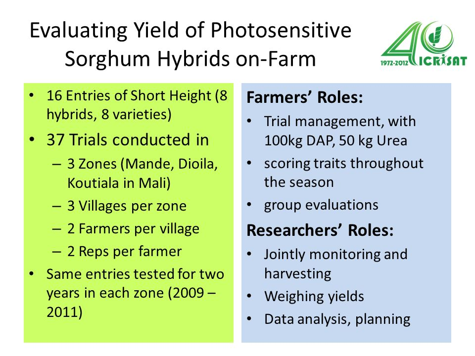 Evaluating Yield of Photosensitive Sorghum Hybrids on-Farm 16 Entries of Short Height (8 hybrids, 8 varieties) 37 Trials conducted in – 3 Zones (Mande, Dioila, Koutiala in Mali) – 3 Villages per zone – 2 Farmers per village – 2 Reps per farmer Same entries tested for two years in each zone (2009 – 2011) Farmers Roles: Trial management, with 100kg DAP, 50 kg Urea scoring traits throughout the season group evaluations Researchers Roles: Jointly monitoring and harvesting Weighing yields Data analysis, planning
