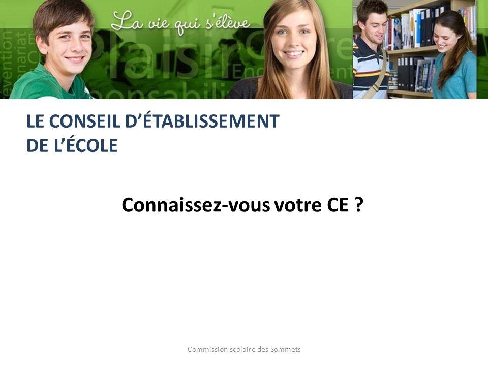 Commission scolaire des Sommets Connaissez-vous votre CE LE CONSEIL DÉTABLISSEMENT DE LÉCOLE