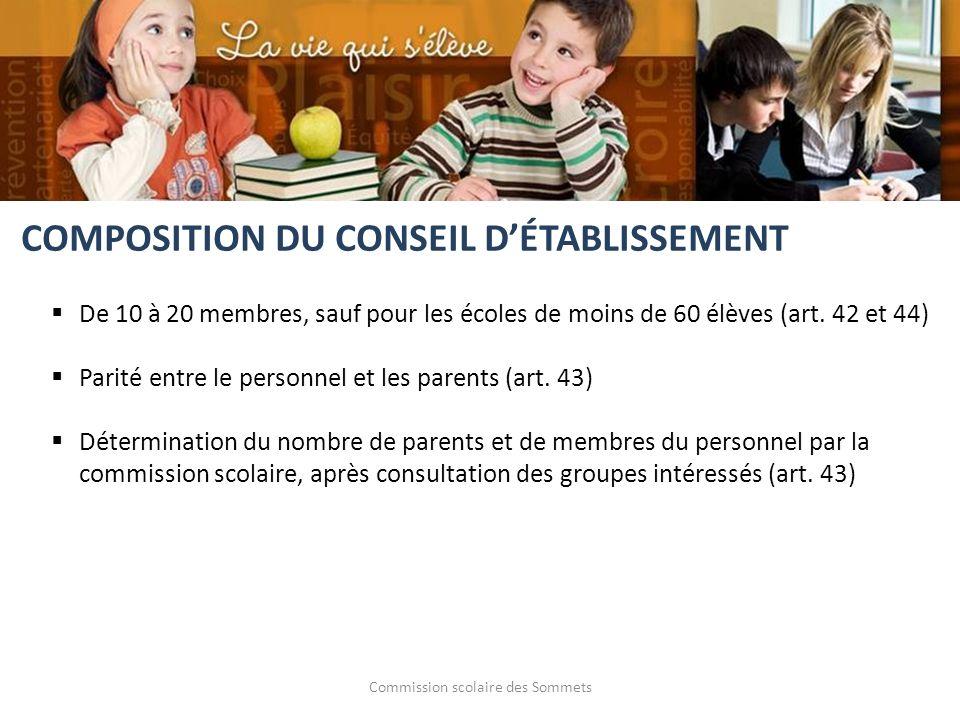 Commission scolaire des Sommets De 10 à 20 membres, sauf pour les écoles de moins de 60 élèves (art. 42 et 44) Parité entre le personnel et les parent