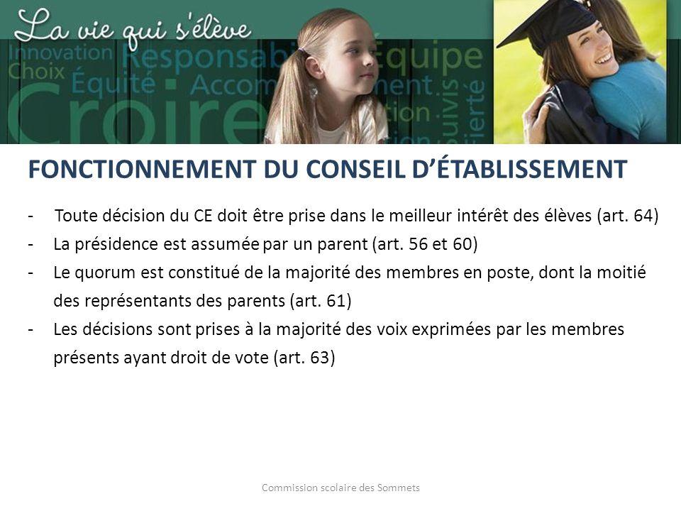 Commission scolaire des Sommets - Toute décision du CE doit être prise dans le meilleur intérêt des élèves (art. 64) -La présidence est assumée par un