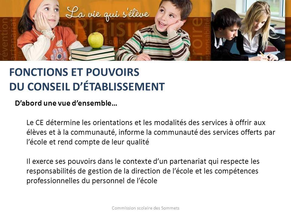 Commission scolaire des Sommets Dabord une vue densemble… Le CE détermine les orientations et les modalités des services à offrir aux élèves et à la c