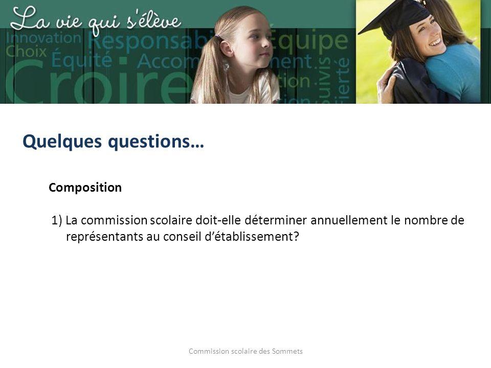 Commission scolaire des Sommets Quelques questions… Composition 1) La commission scolaire doit-elle déterminer annuellement le nombre de représentants au conseil détablissement