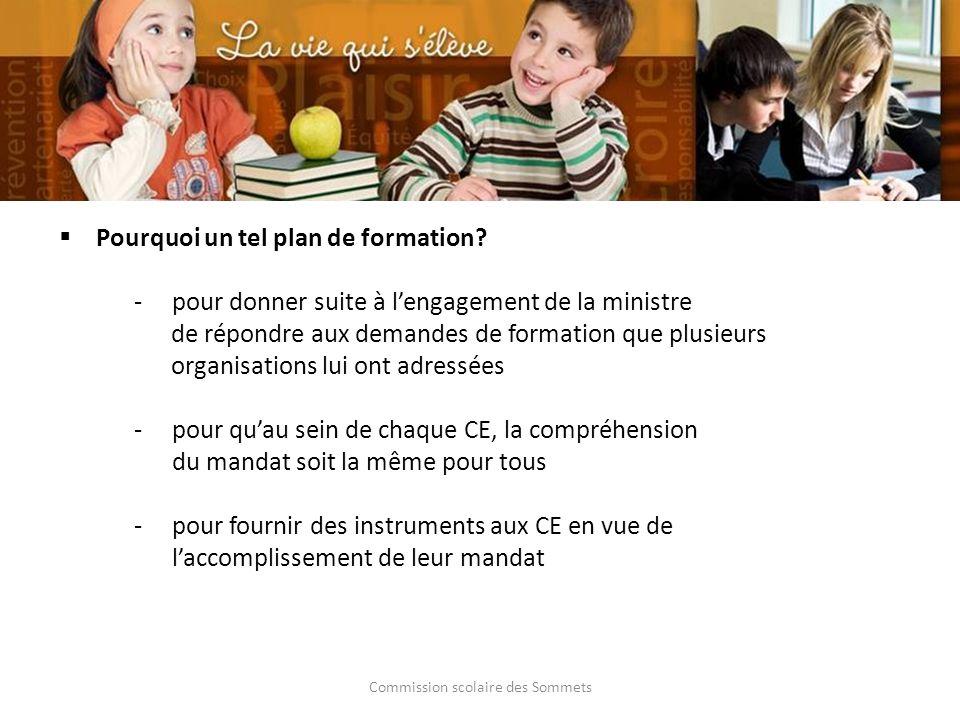 Commission scolaire des Sommets Pourquoi un tel plan de formation? pour donner suite à lengagement de la ministre de répondre aux demandes de formati