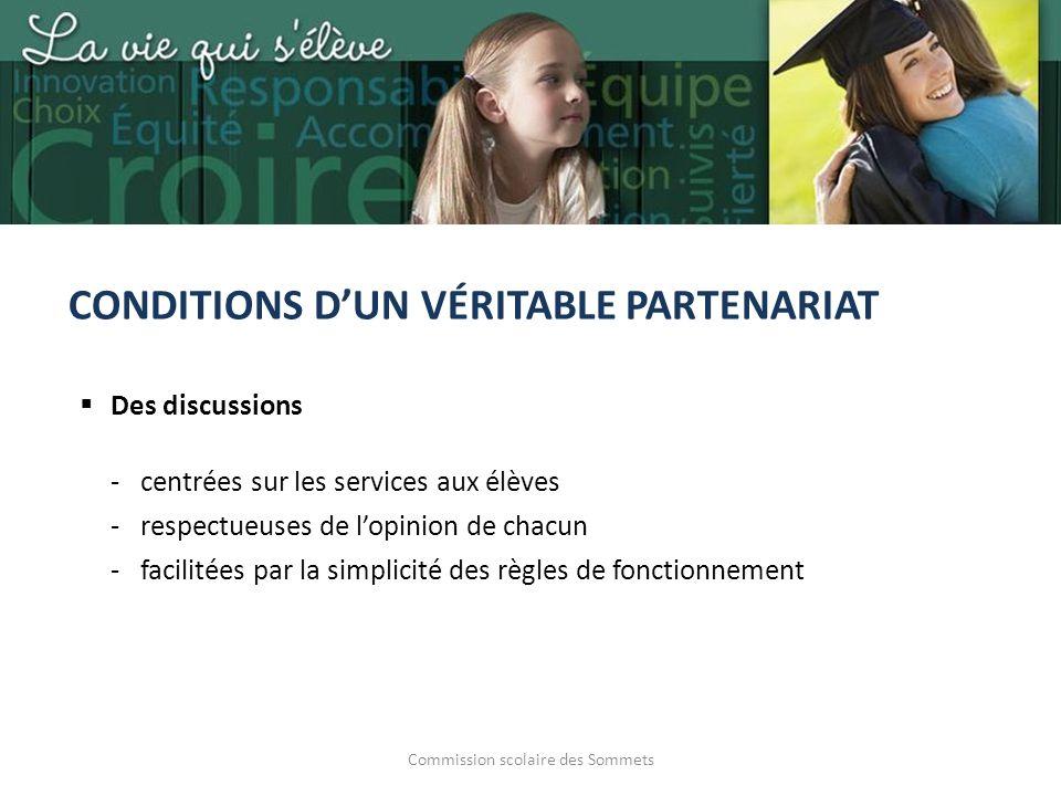 Commission scolaire des Sommets CONDITIONS DUN VÉRITABLE PARTENARIAT Des discussions -centrées sur les services aux élèves -respectueuses de lopinion de chacun -facilitées par la simplicité des règles de fonctionnement