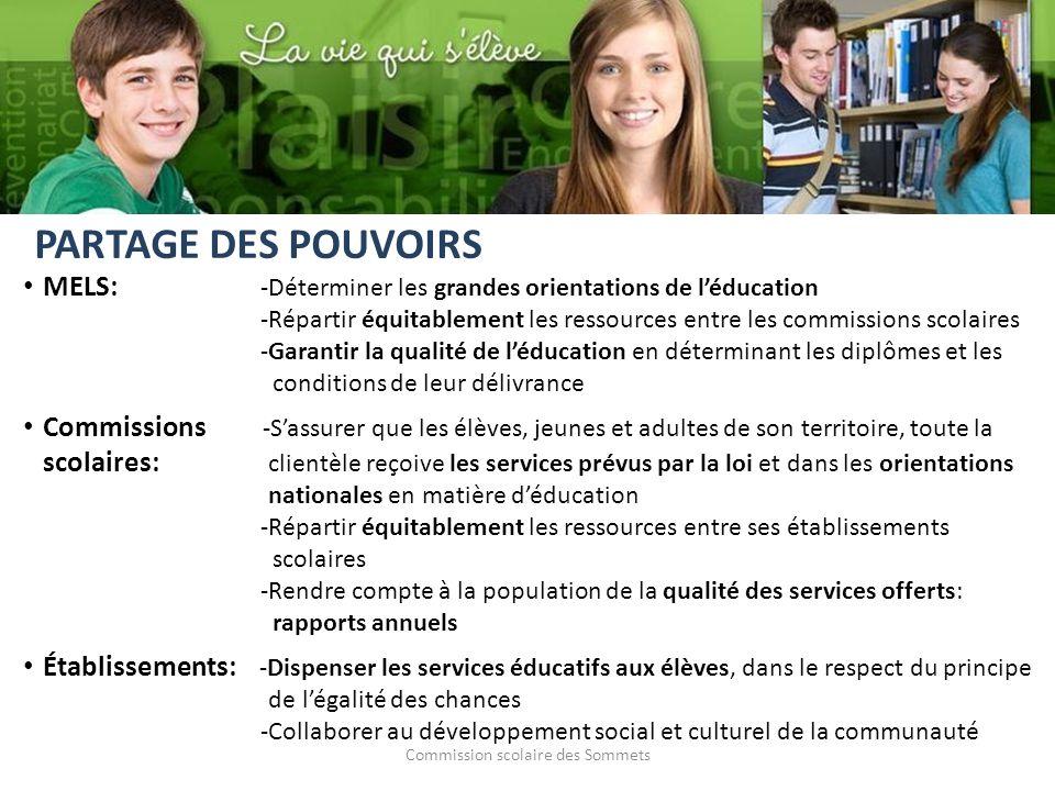 Commission scolaire des Sommets MELS: -Déterminer les grandes orientations de léducation -Répartir équitablement les ressources entre les commissions