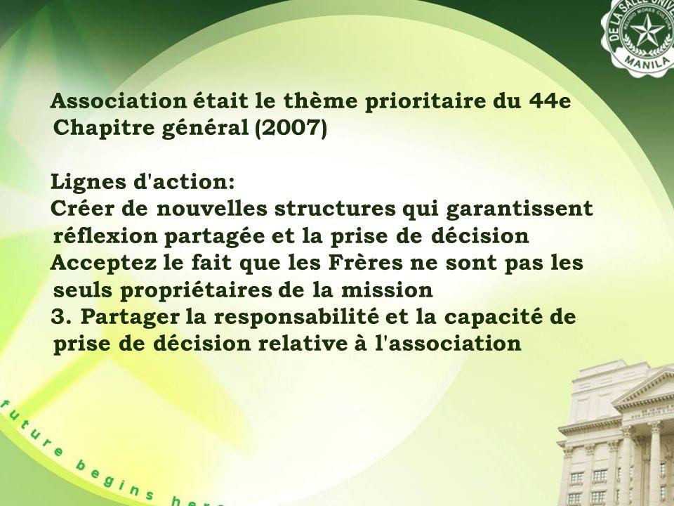 Association était le thème prioritaire du 44e Chapitre général (2007) Lignes d action: Créer de nouvelles structures qui garantissent réflexion partagée et la prise de décision Acceptez le fait que les Frères ne sont pas les seuls propriétaires de la mission 3.