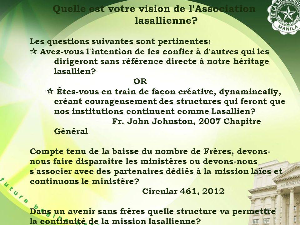 Quelle est votre vision de l Association lasallienne.