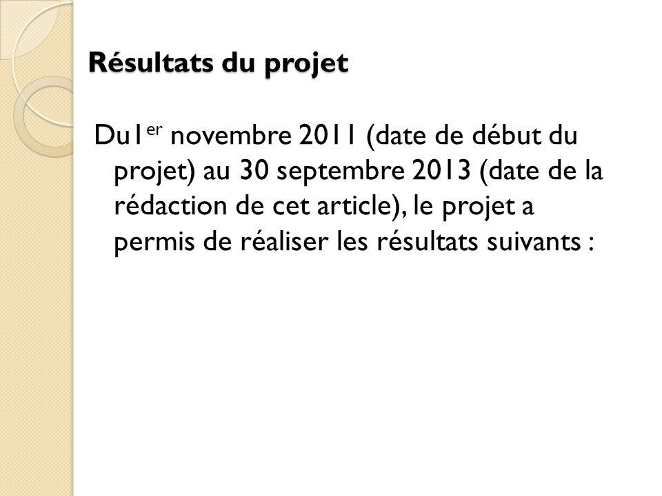 Résultats du projet Du1 er novembre 2011 (date de début du projet) au 30 septembre 2013 (date de la rédaction de cet article), le projet a permis de réaliser les résultats suivants :