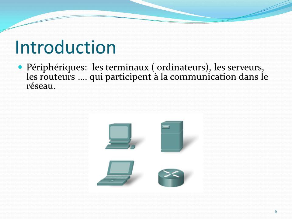 Introduction 6 Périphériques: les terminaux ( ordinateurs), les serveurs, les routeurs …. qui participent à la communication dans le réseau.