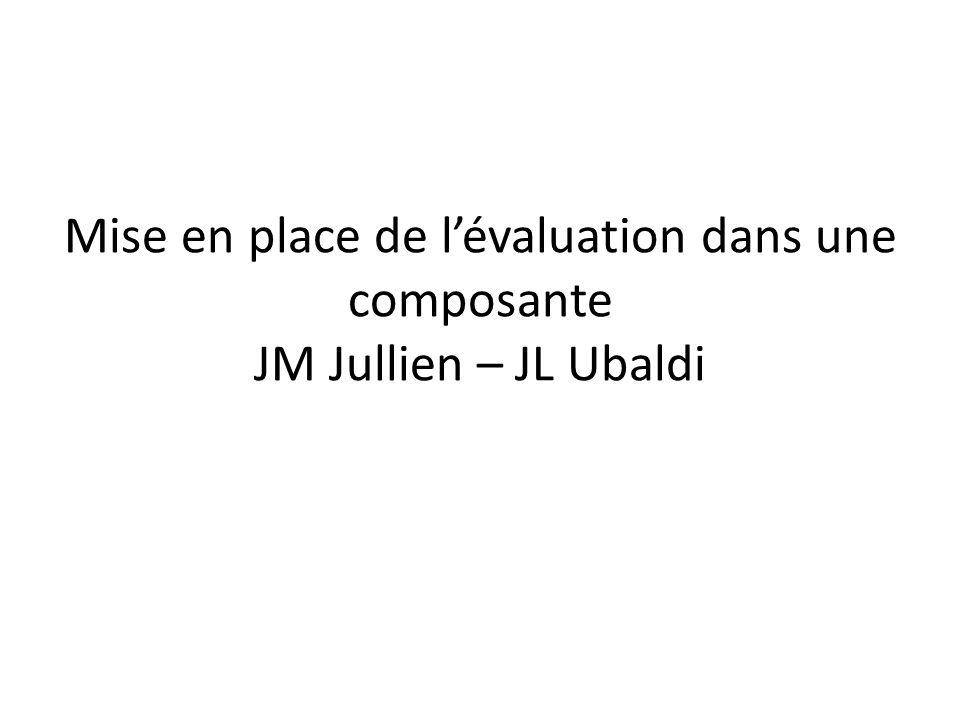 Mise en place de lévaluation dans une composante JM Jullien – JL Ubaldi