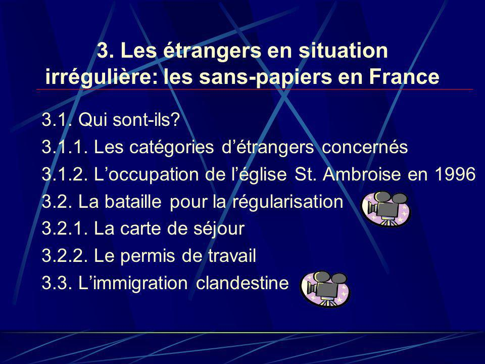 3. Les étrangers en situation irrégulière: les sans-papiers en France 3.1.